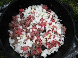 Dutch Oven Cowboy Stew, adding onions