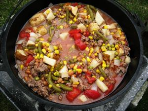 Dutch Oven Cowboy Stew, cooking