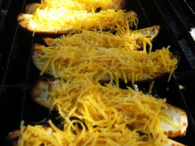 Grilled Potato Skins with Cheese