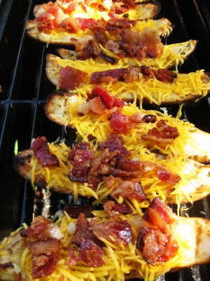 Grilled Potato Skins with Cheese and Bacon