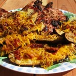 Grilled Potato Skins with Pork Chops