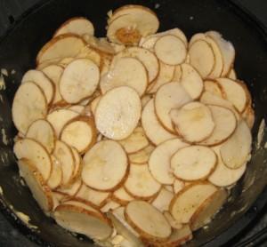 Delmonico Potatoes in Dutch oven