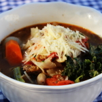Tuscan Kale Bean Sausage Soup in a Dutch Oven