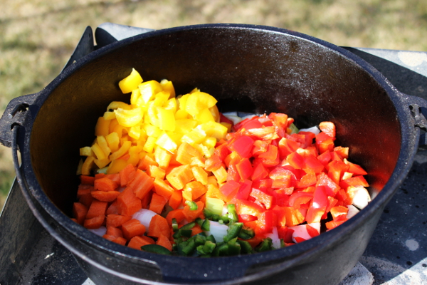 Getting the veggies going in the Dutch oven