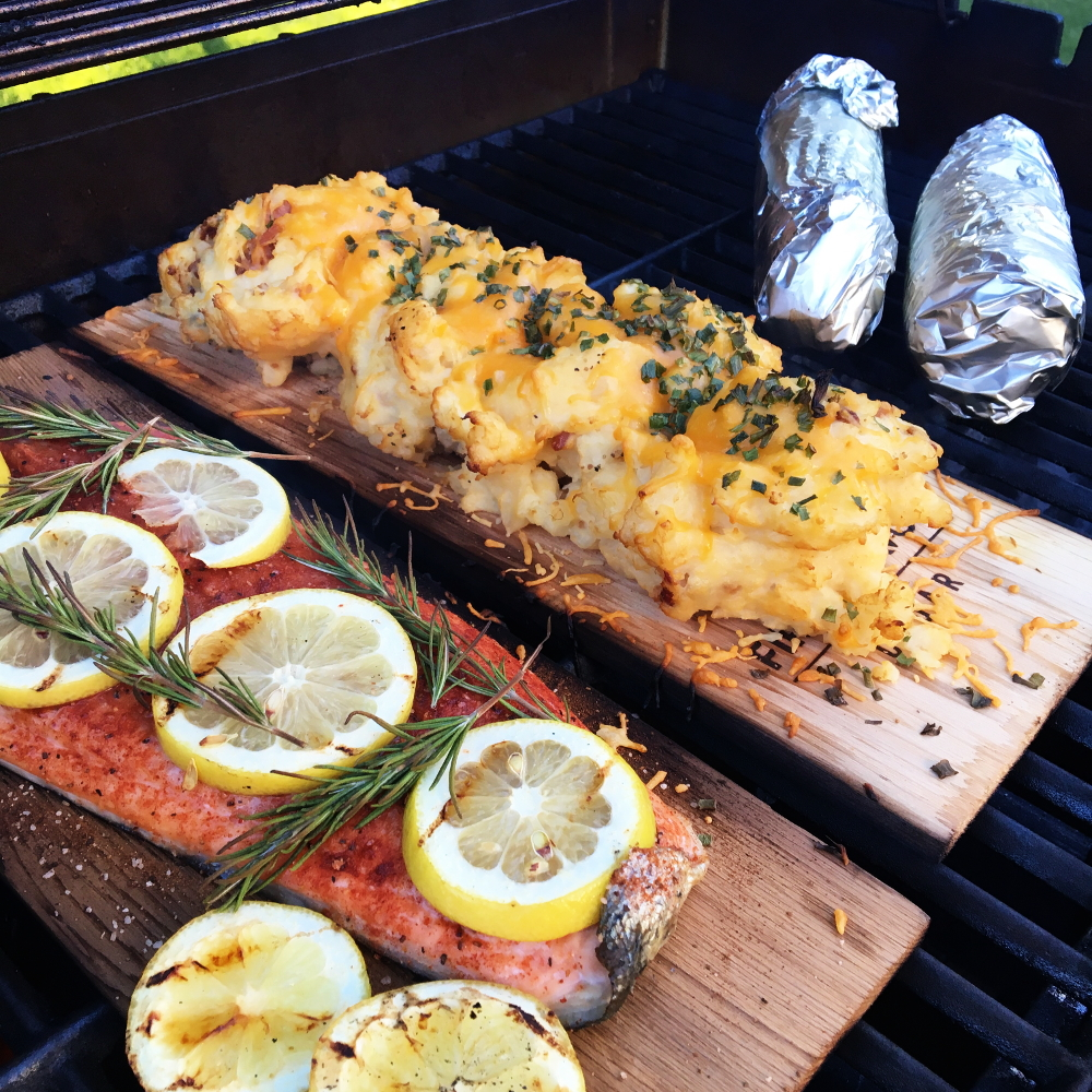 Cedar Planked Salmon and Mashed Potatoes